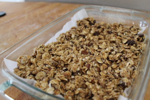 The granola bars before going into the oven.