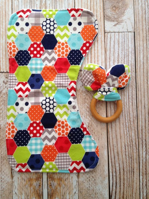 A burp cloth and teether set from Bird & Bear.