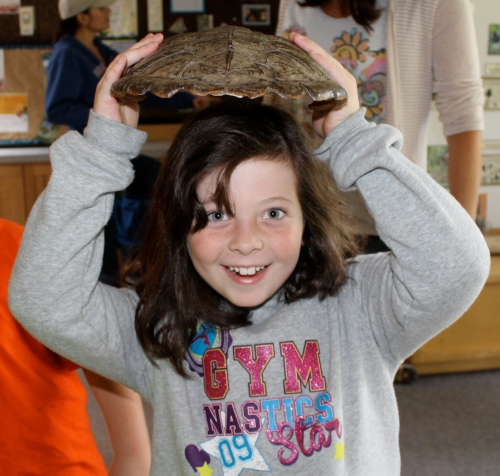 CP#1 holds a turtle shell at the Gilsland Farm Discovery Center.