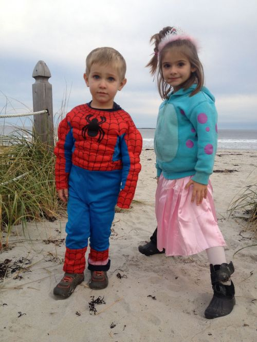 Coco and Eva before the Old Orchard Beach Halloween party.